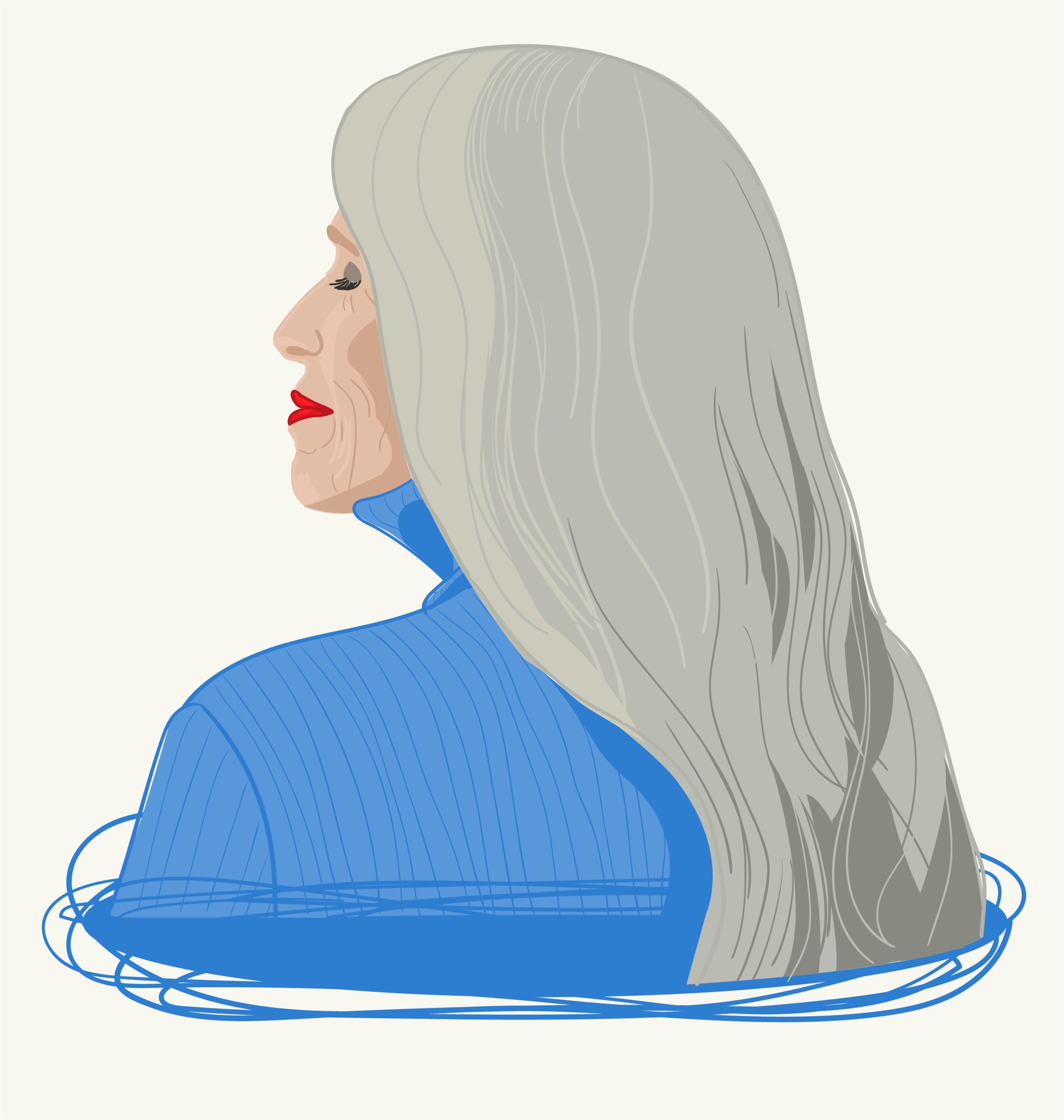 Silver power woman illustration, older woman illustration, aging is beautiful