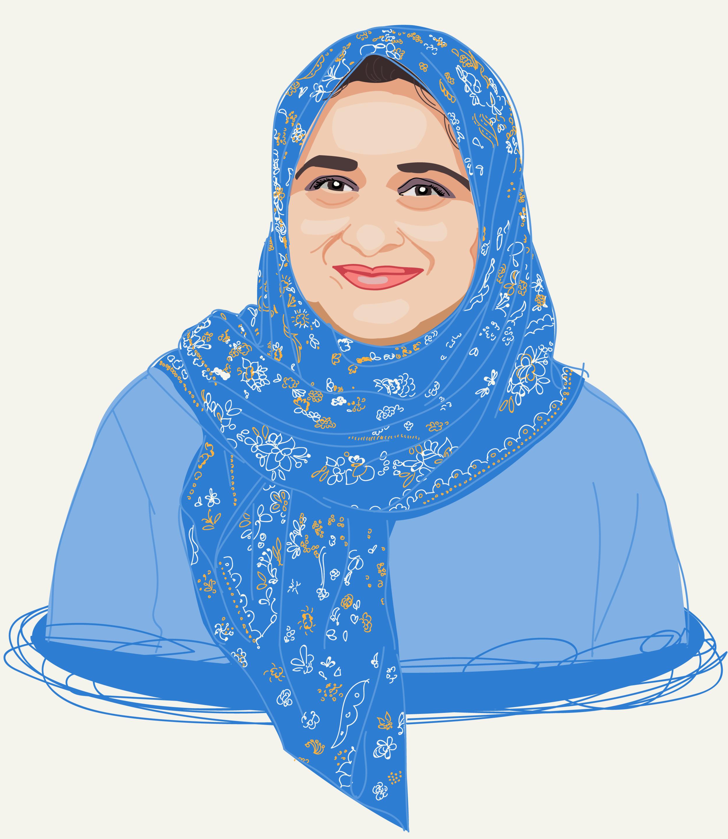 Beautiful woman with headscarf illustration