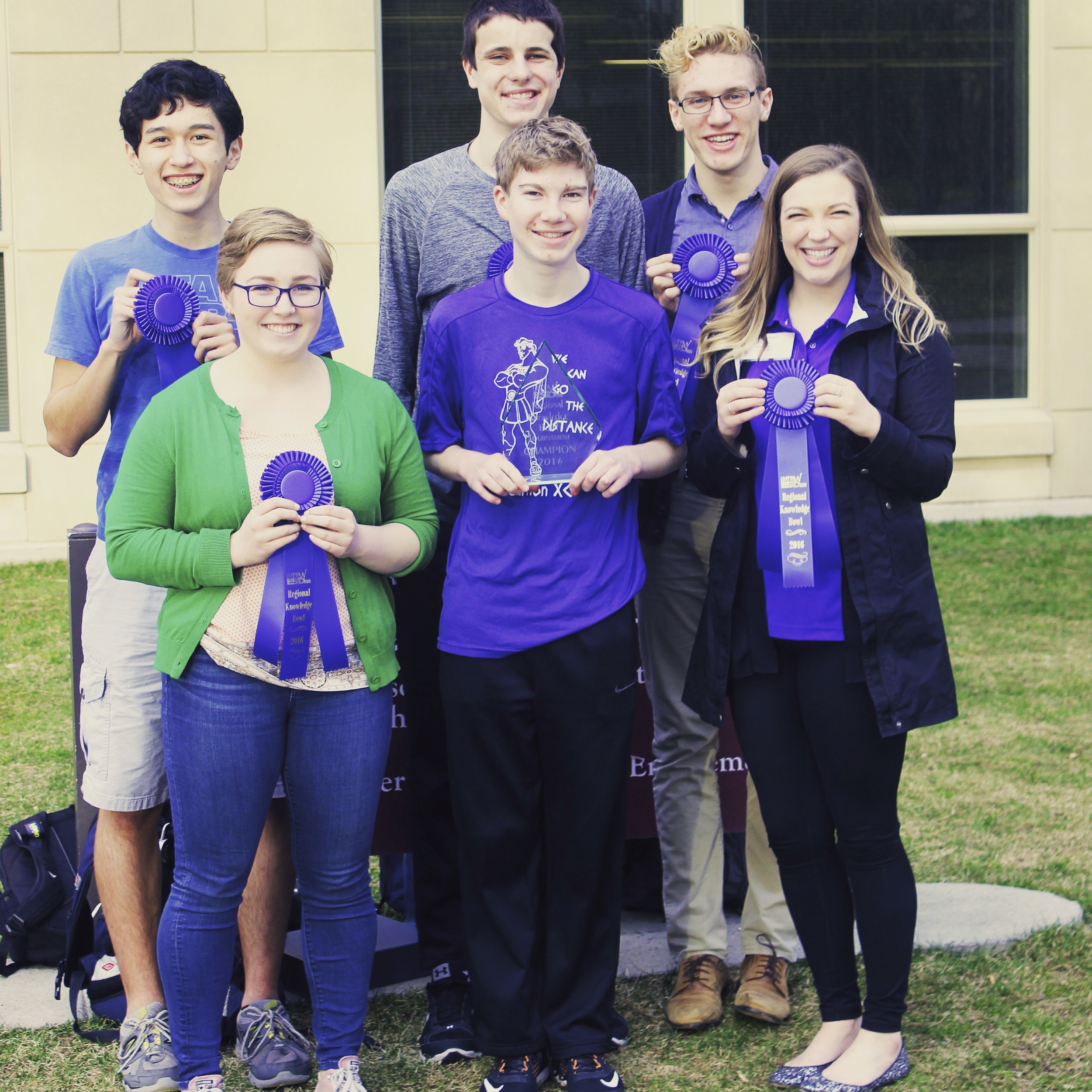 The 2016 PHS Varsity Knowledge Bowl Team after winning the NEWESD Regional Tournament!  Pictured (Left to Right) Front: Daisy Ward, Declan Edgecombe, Coach Brown Back: Jerome Campbell, Ryan McCluskey, Matt Larson