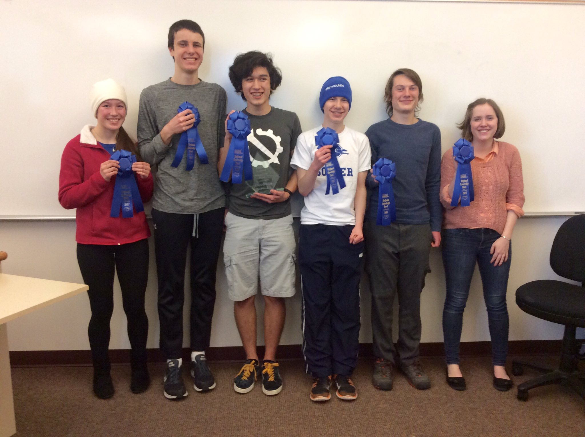 The 2017 PHS Varsity Knowledge Bowl Team after winning the NEWESD Regional Tournament!  Pictured (Left to Right)Gillian Oaks, Ryan McCluskey, Jerome Campbell, Declan Edgecombe, Reed Harder, and Adelaide Willis.