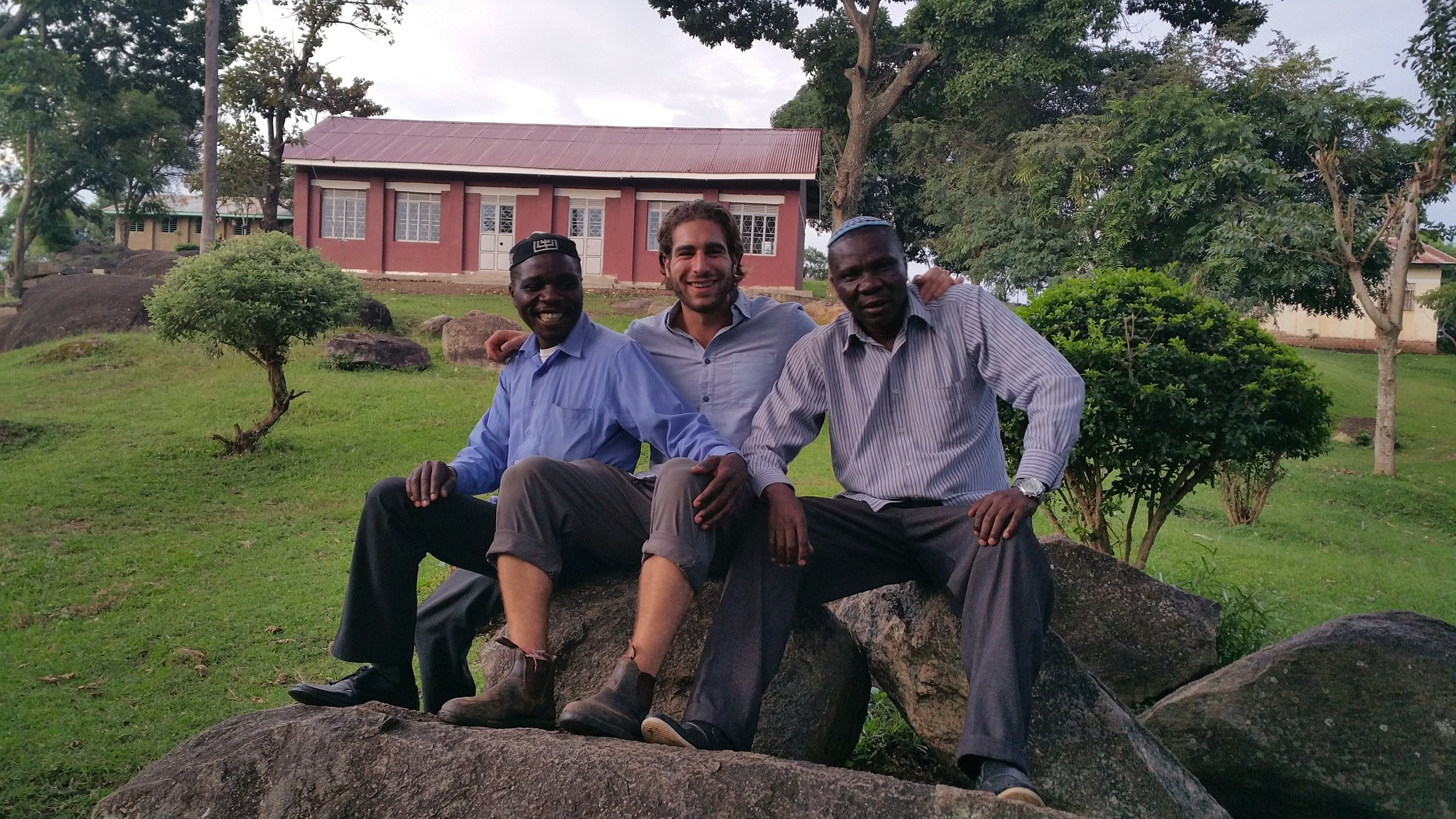 Seth Jonadav (Left) Head Master of Semei Kungulu High School, Myself (Centre) and Aaron Kintu Moses (Right) Head Master of Hadassa Primary School.