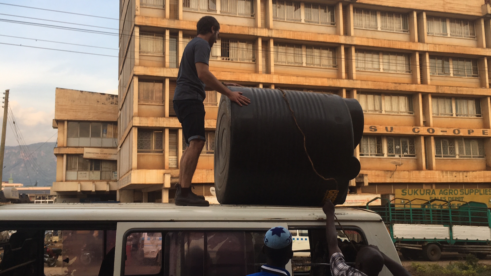 Transporting a 1000 Litre water tank used for rain catchment in our agricultural program.