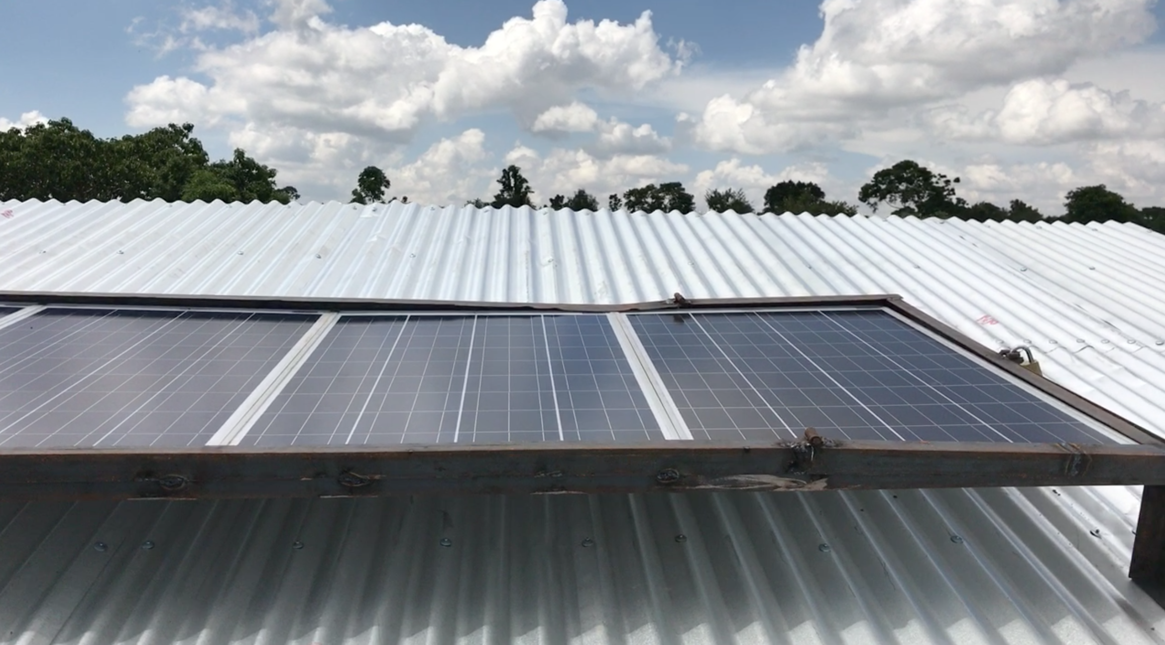 A few of our solar panels used to power the classroom.