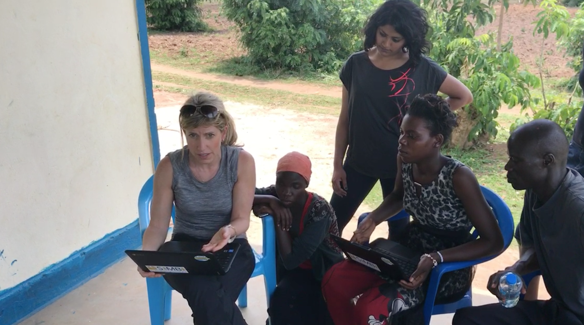 Nicole teaching teachers from Yonatan Netanyahu Memorial School how to use SiMBi - our reading app.