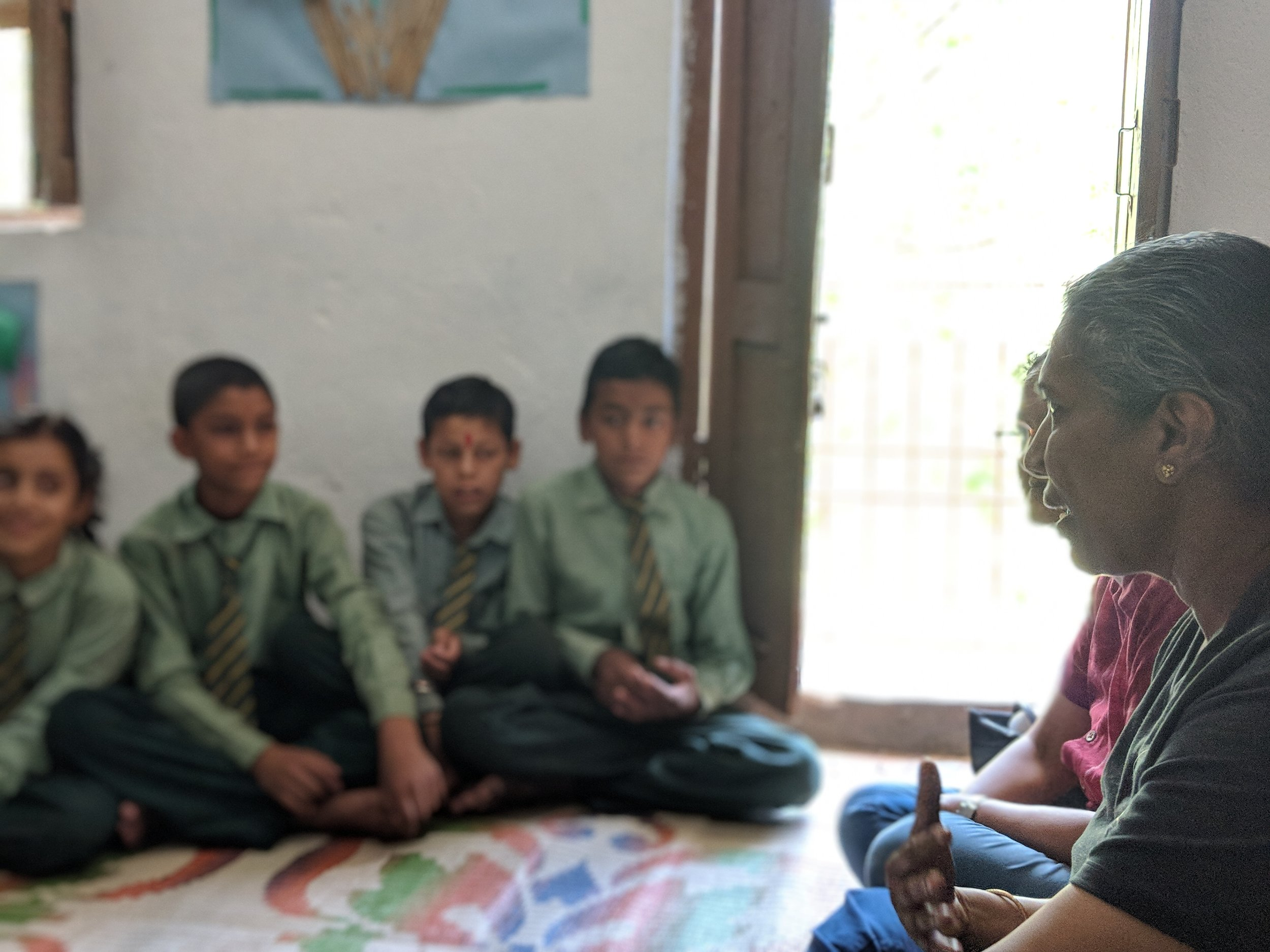 Mala Kumar speaking to Himalayan Public School students about their future book, July 2018