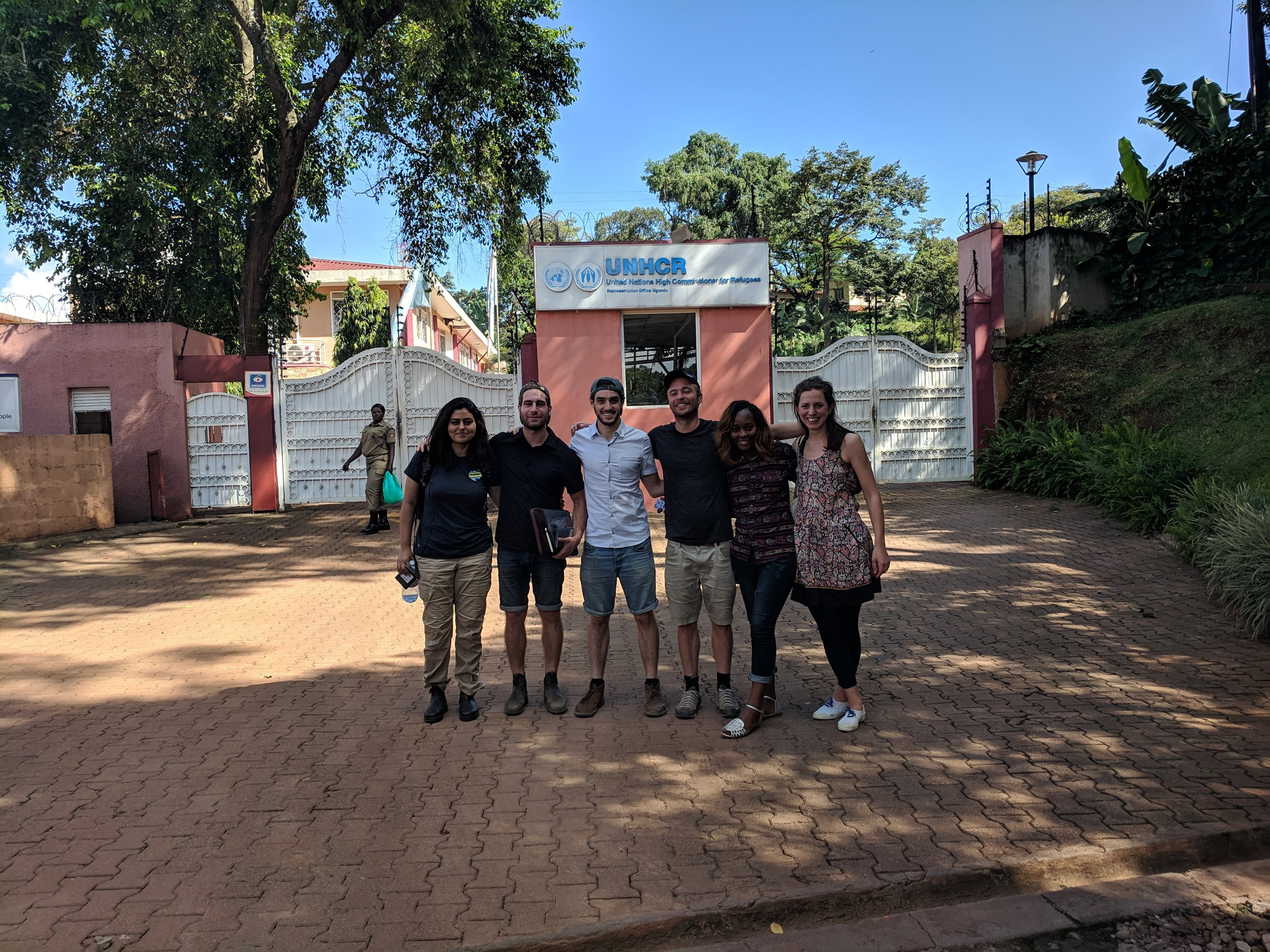 The team outside the UNHCR offices in Kampala, following a 9hr drive that morning!