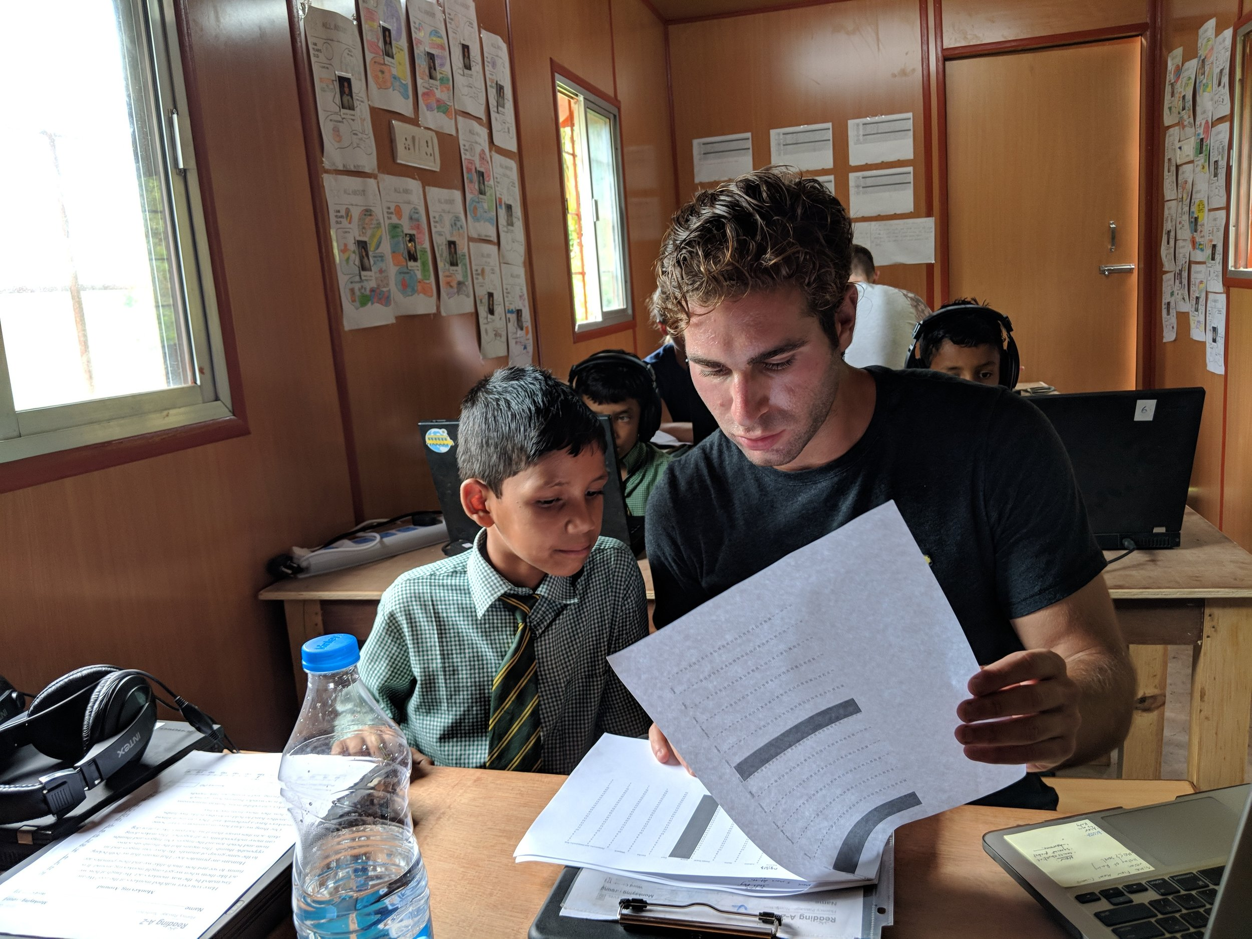 Reviewing Simbi readings at Himalayan Public School in the BrightBox: Macro in Uttarkhand, India