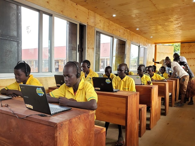 Twajiji Primary School Students learning out of the BrightBox Classroom in the Bidibidi Refugee Settlement