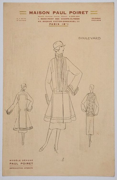 Louis Kahan, fashion design 'Boulevard'for Maison Paul Poiret, Paris, c.1926, mimeograph, 27.5 x 18 cm,RMIT Design Archives.