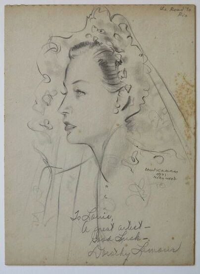 Louis Kahan,  Dorothy Lamour, Road to Rio,  1947, pencil on paper, 29 x 21.2 cm, Kahan Family Collection.