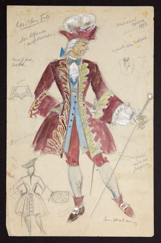 Louis Kahan, Costume design for Don Alfonso,  Cosi fan tutte , National Theatre Opera Company, Melbourne, 1953, gouache and pencil on paper, 33 x 21 cm, Arts Centre Melbourne, Performing Arts Centre.