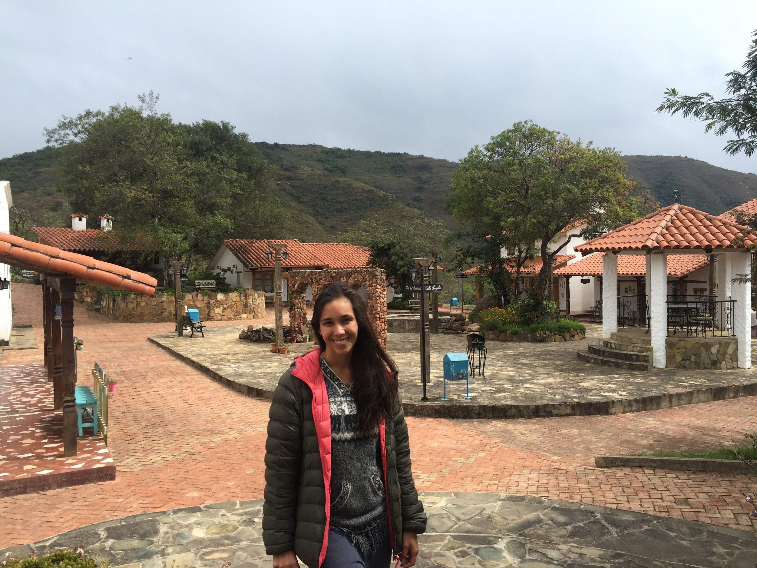 "The charming ""square"" at El Pueblito Hotel in Samaipata."