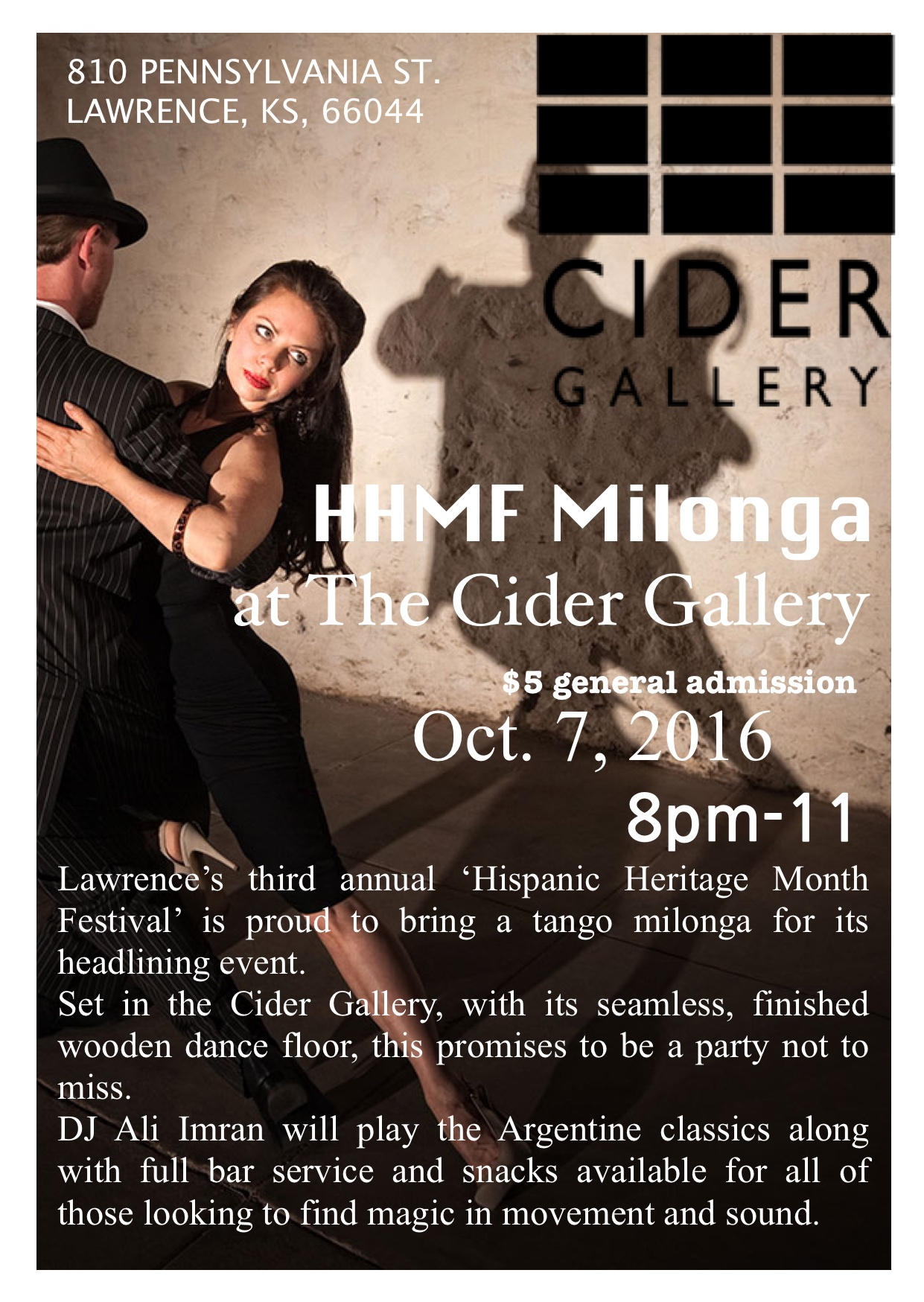Join us at the Cider Gallery this Friday for celebration, dancing and drinks!  For more information on this events visit the event's  Facebook page