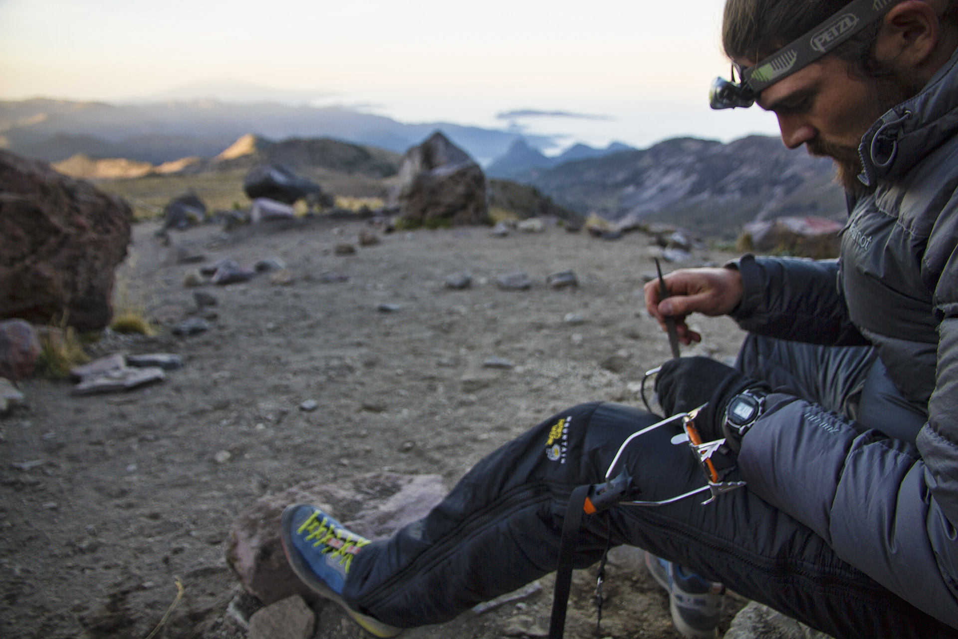 The evening is spent preparing gear for the summit push.