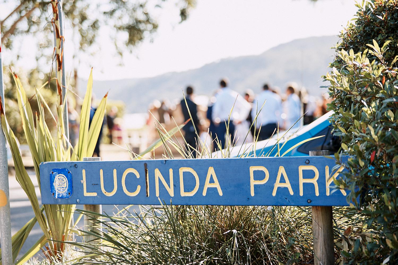 Sign at Lucinda Park wedding