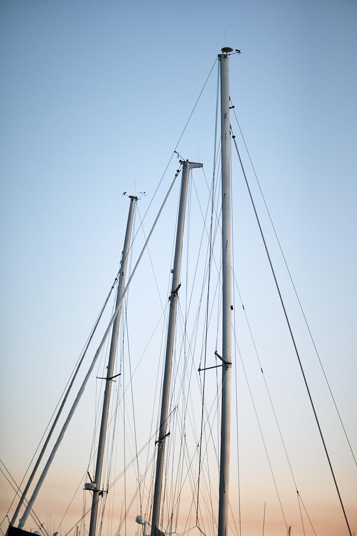 Masts of yachts at Royal Motor Yacht Club Newport