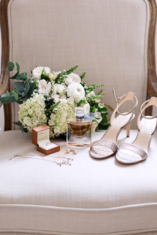 Bride wedding details on chair
