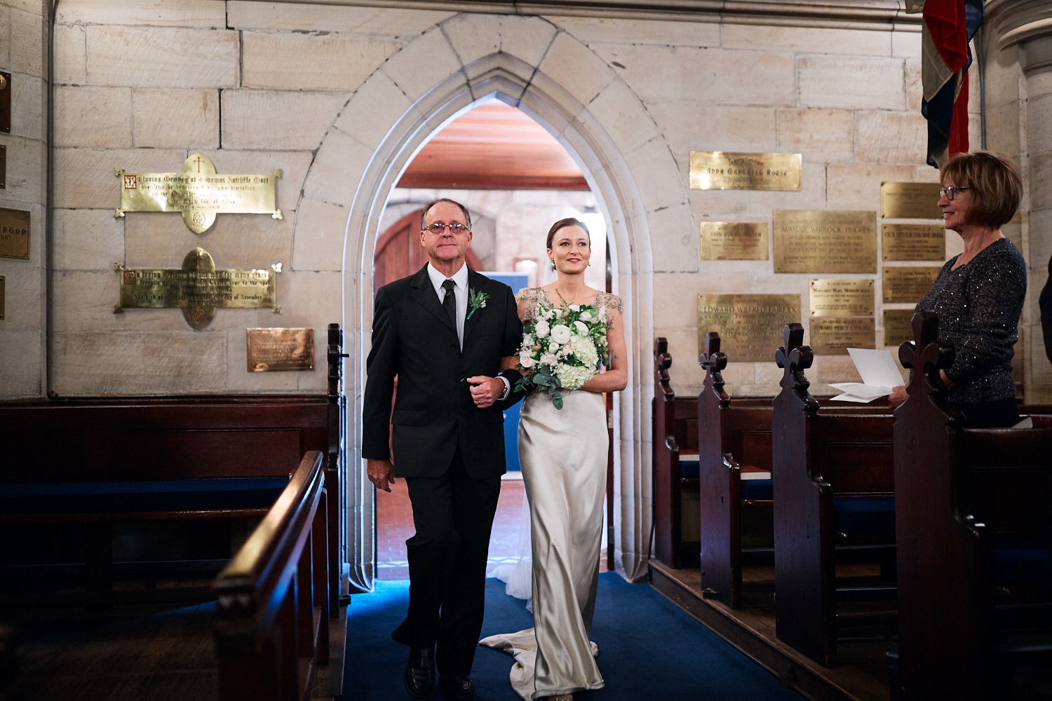 Bride and father walking down the aisle of St Marks Anglican Church, Darling Point