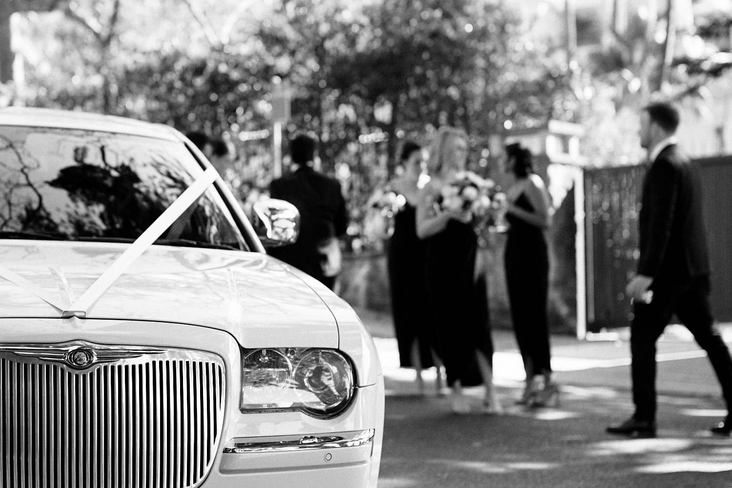 Black and white of limousine and bridal party