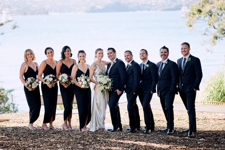 Bridal party portrait in front of Sydney Harbour