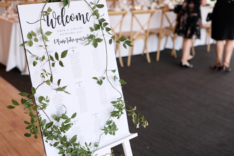 Seating arrangement sign at Centennial Homestead wedding