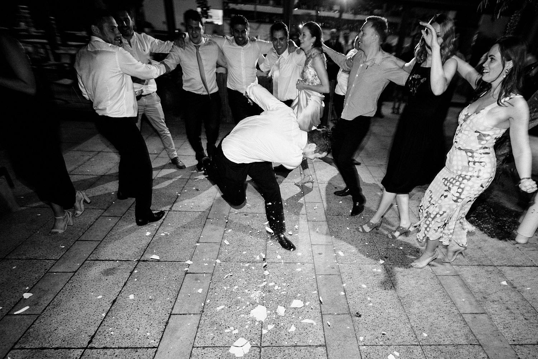 Plate smashing at Centennial Homestead wedding