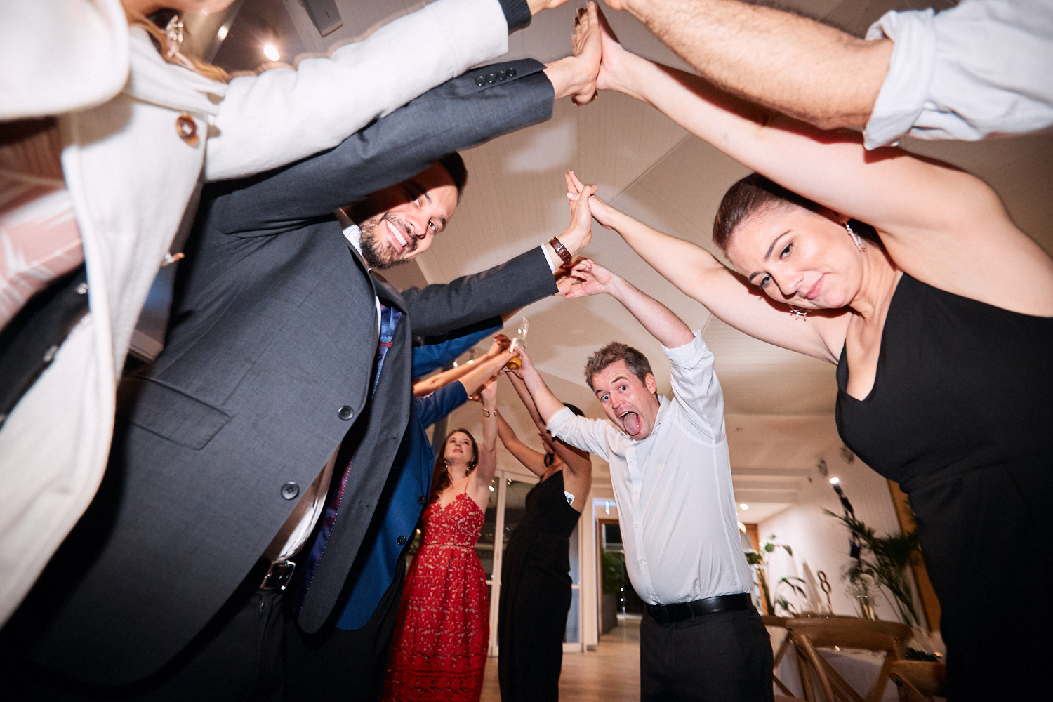 Guests make exit tunnel at Centennial Homestead wedding