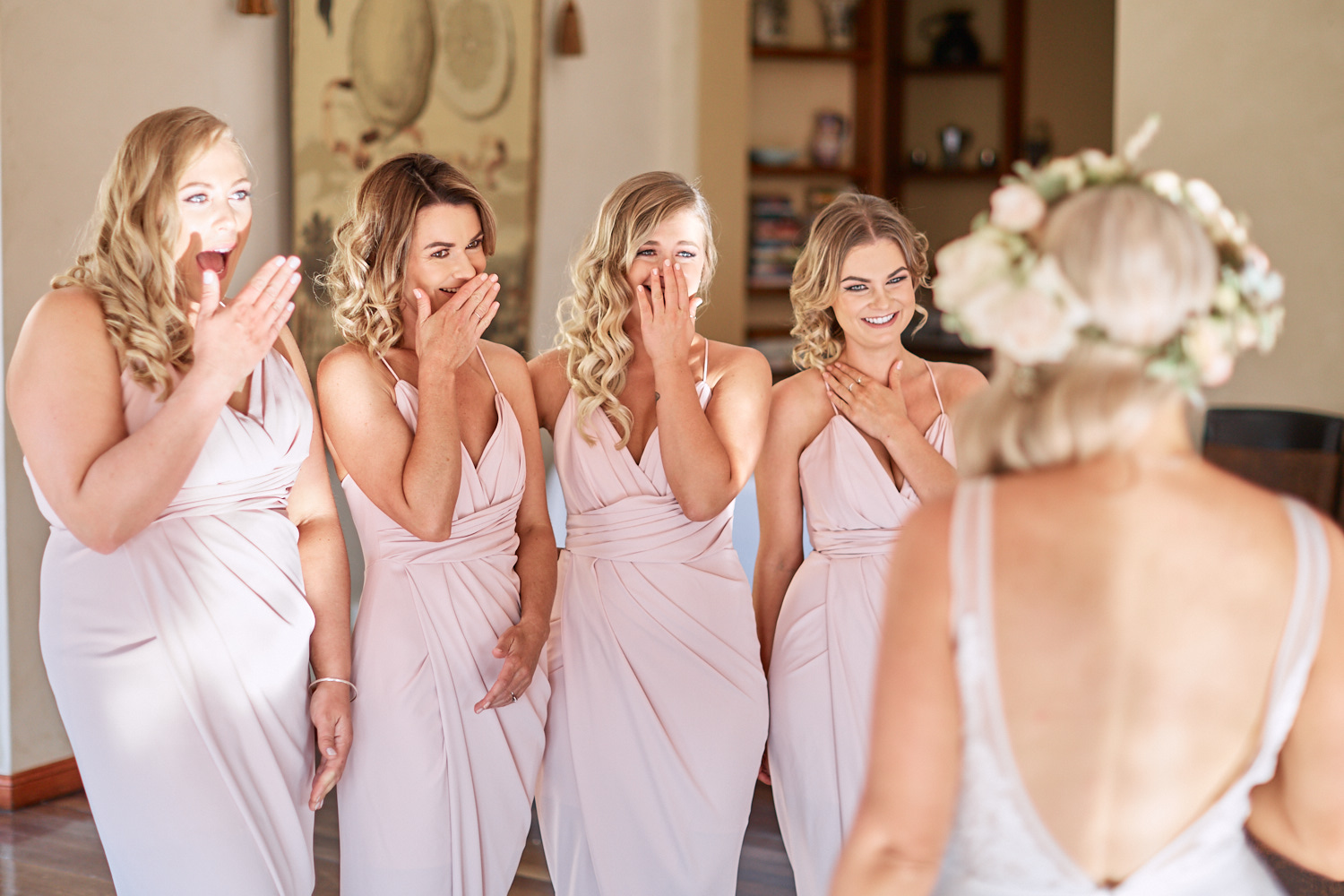 Bridesmaids see bride for fist time at Estate Tuscany Pokolbin in the Hunter Valley by wedding photographer Joshua Witheford