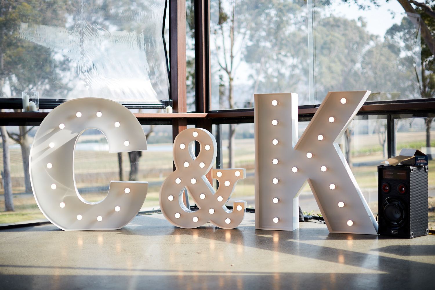 Large Initials Sign at Estate Tuscany Pokolbin in the Hunter Valley by wedding photographer Joshua Witheford