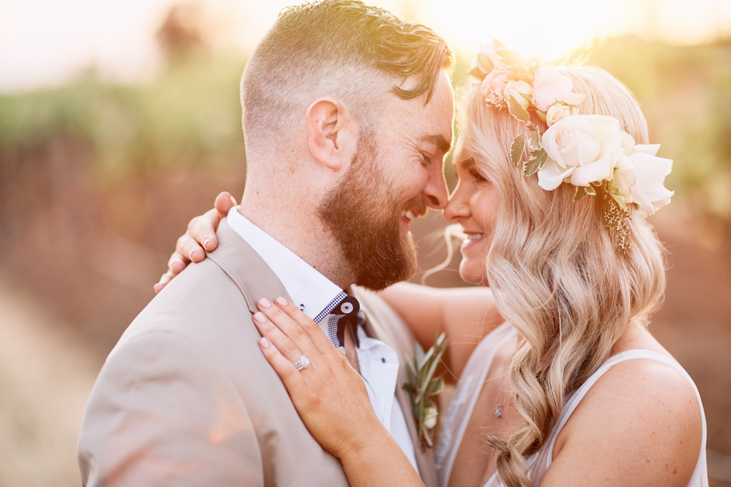 Sunset bride and groom portrait in vineyard at Estate Tuscany Pokolbin in the Hunter Valley by wedding photographer Joshua Witheford