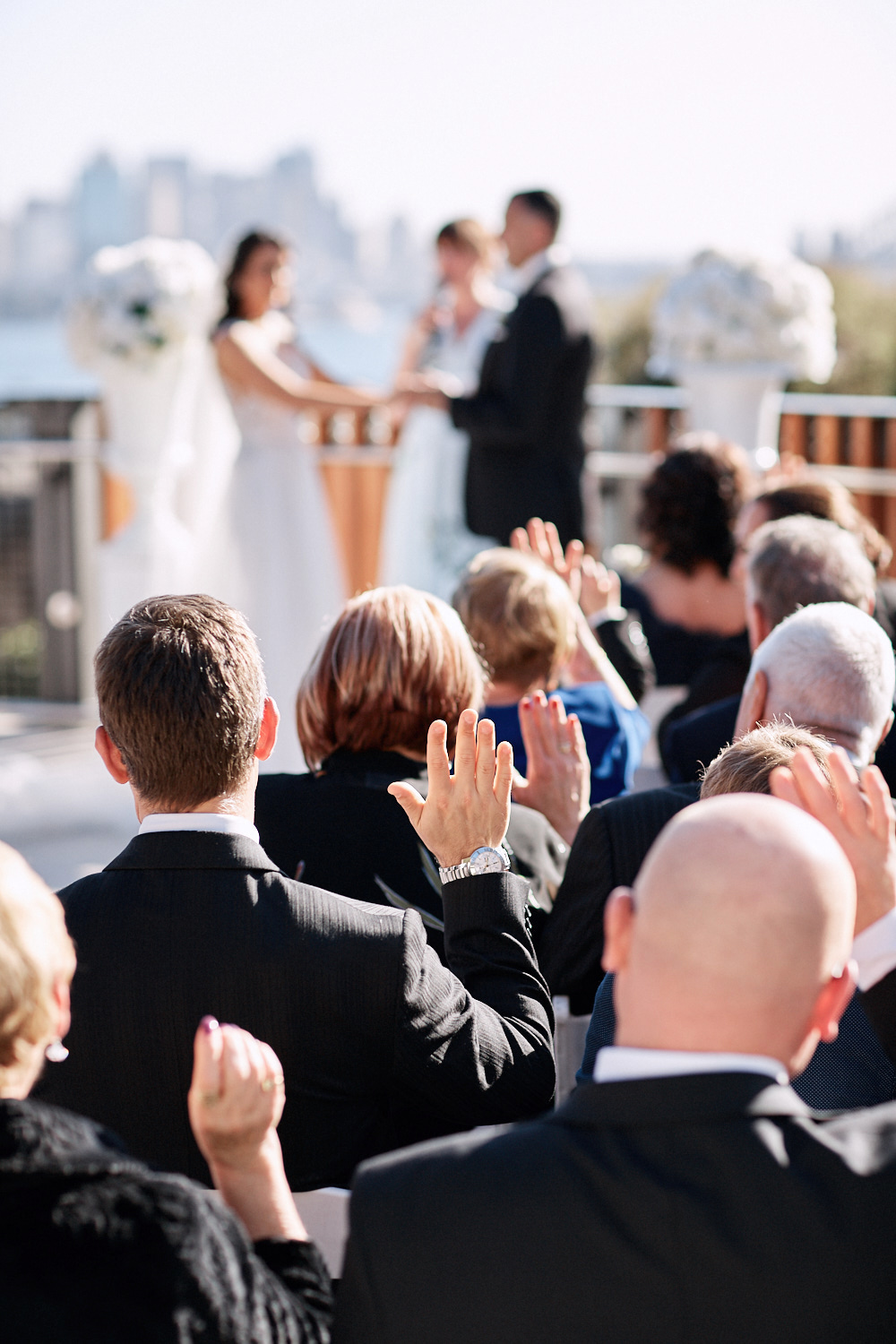 Wedding ceremony on the Centenary Theatre terrace at Taronga Zoo. by Blue Mountains wedding photographer Joshua Witheford