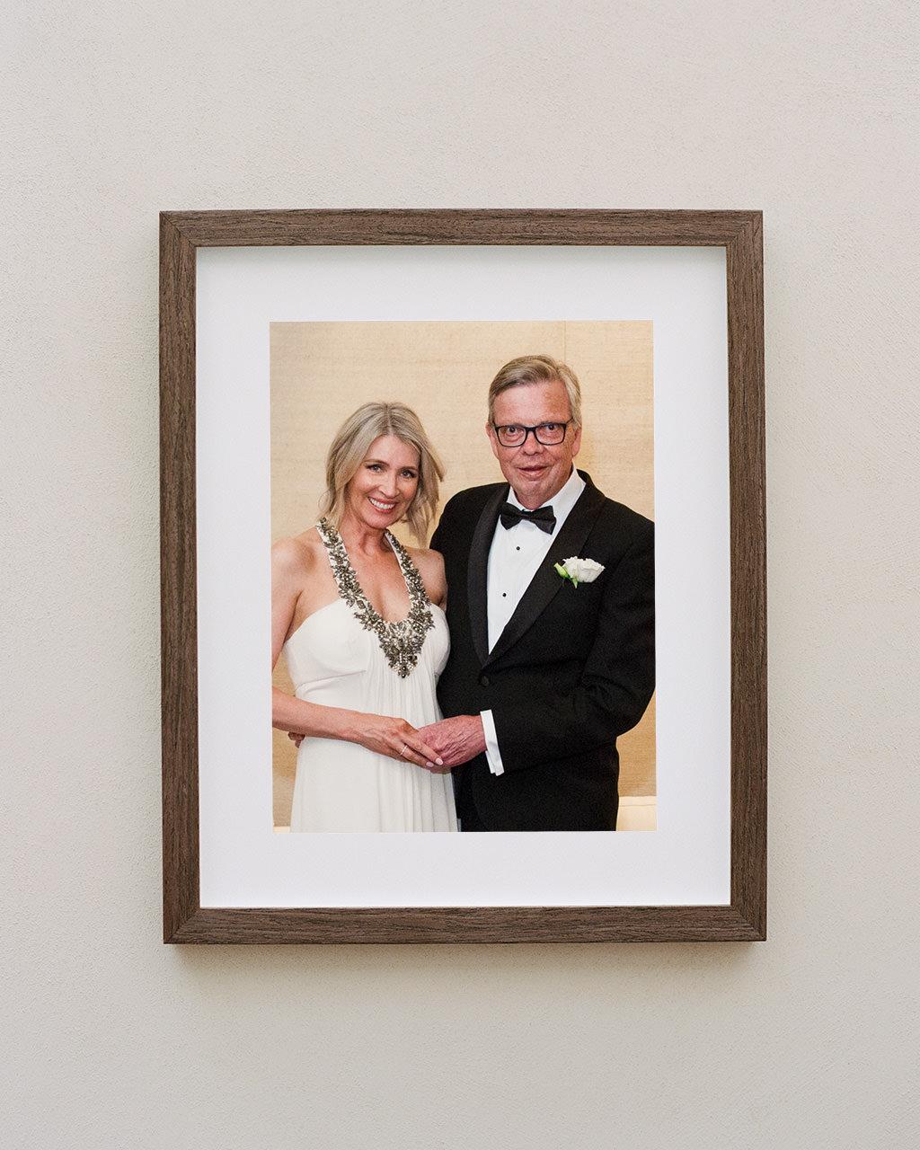Framed portrait of newlyweds at their Est Restaurant wedding