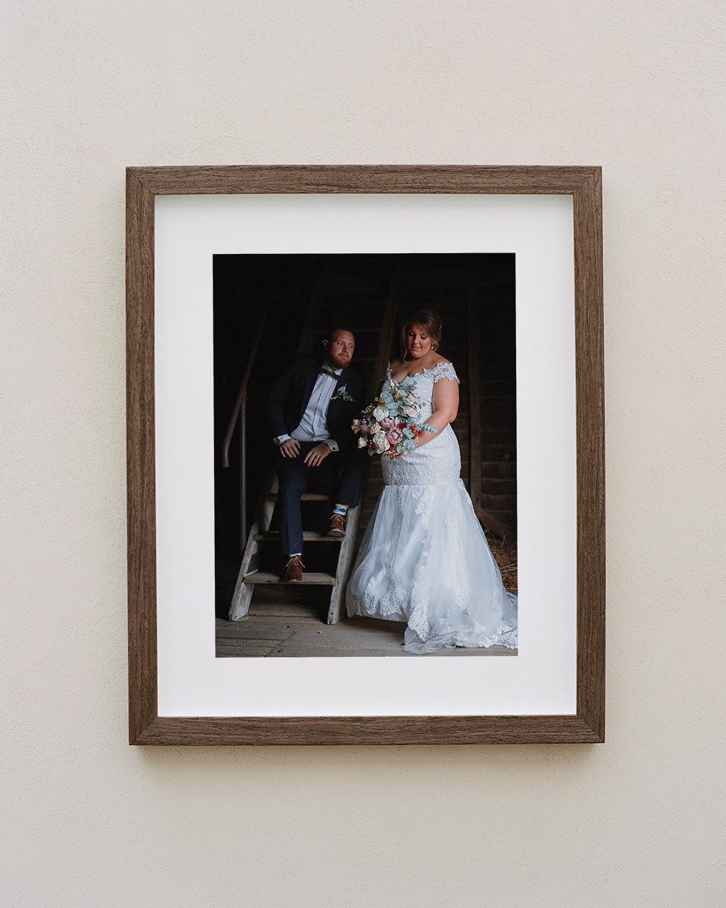 Framed portrait of couple in bard at their Belgenny Farm wedding