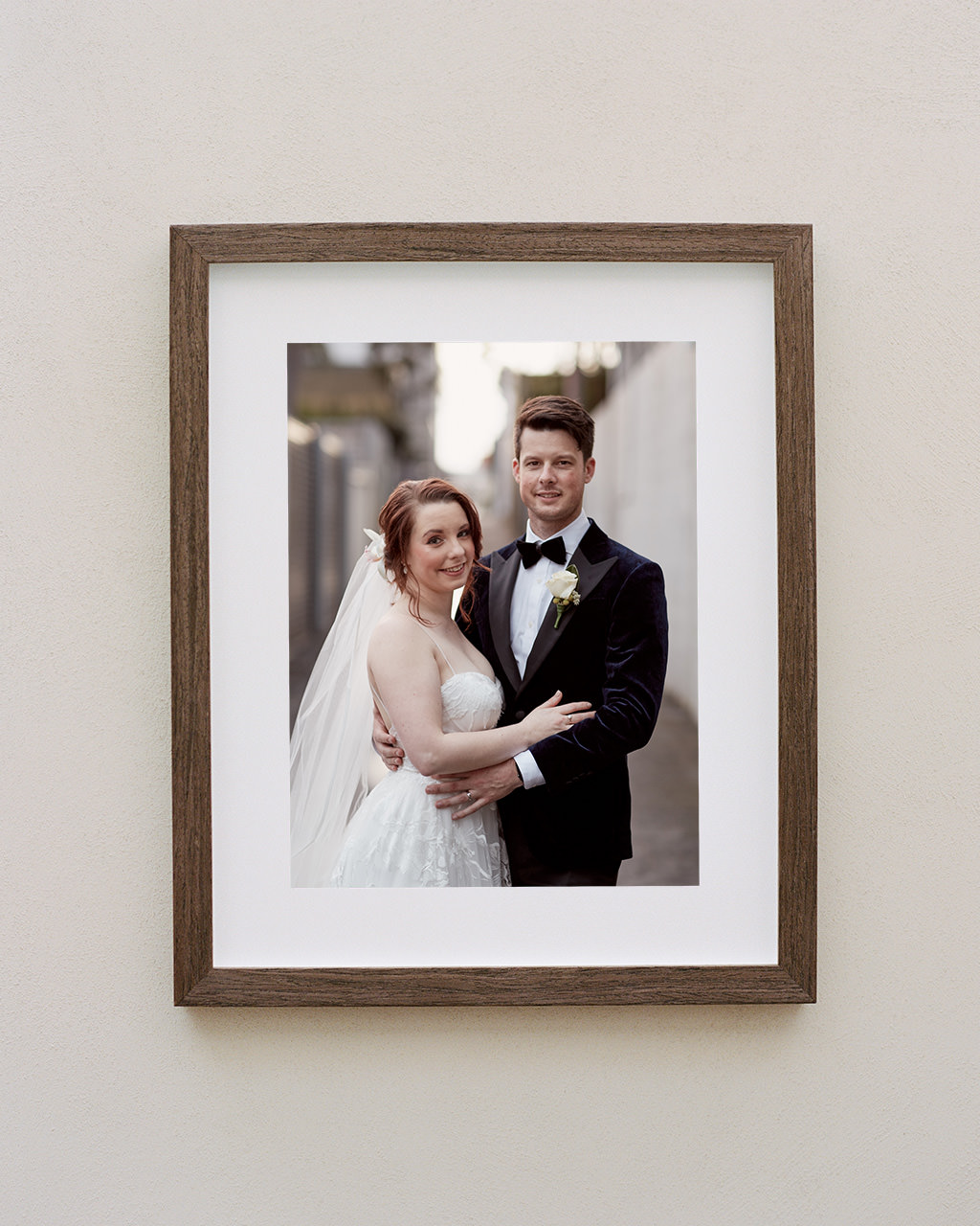 Framed portrait of couple in Sydney laneway at Porteno Events wedding