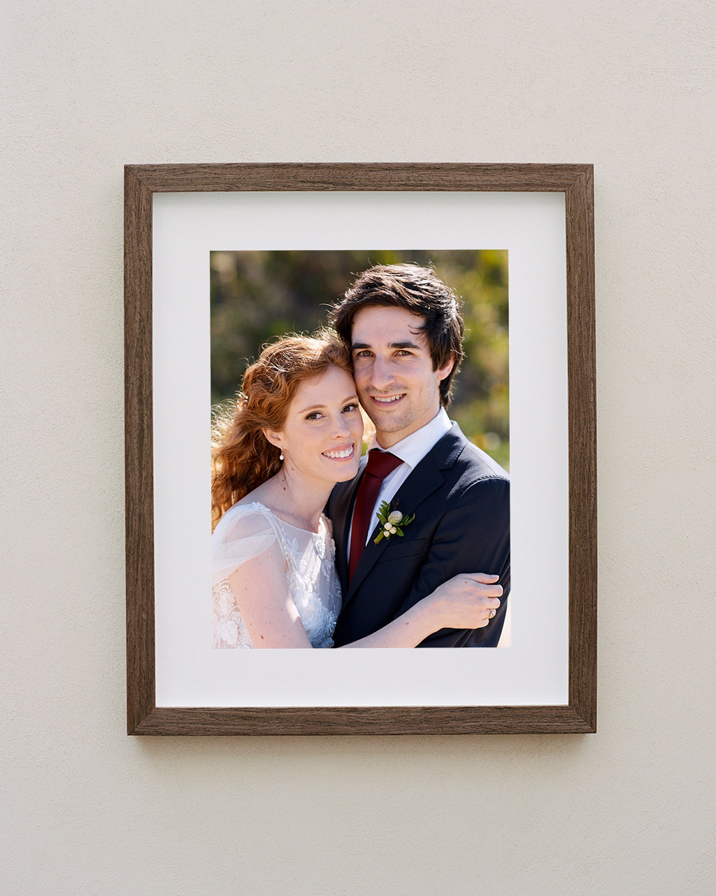Framed portrait of couple at Tumbling Waters Retreat wedding