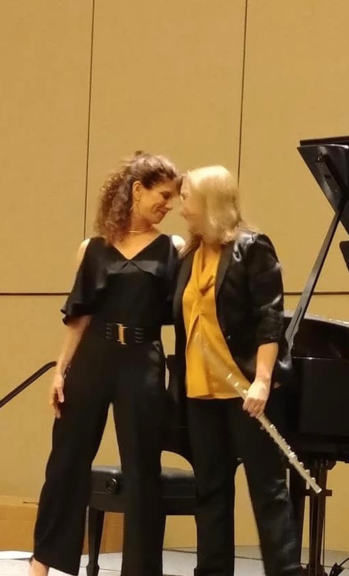 Composer pianist Amanda Harberg with Lois Herbine at the National Flute Association Convention in Orlando Florida, 2018