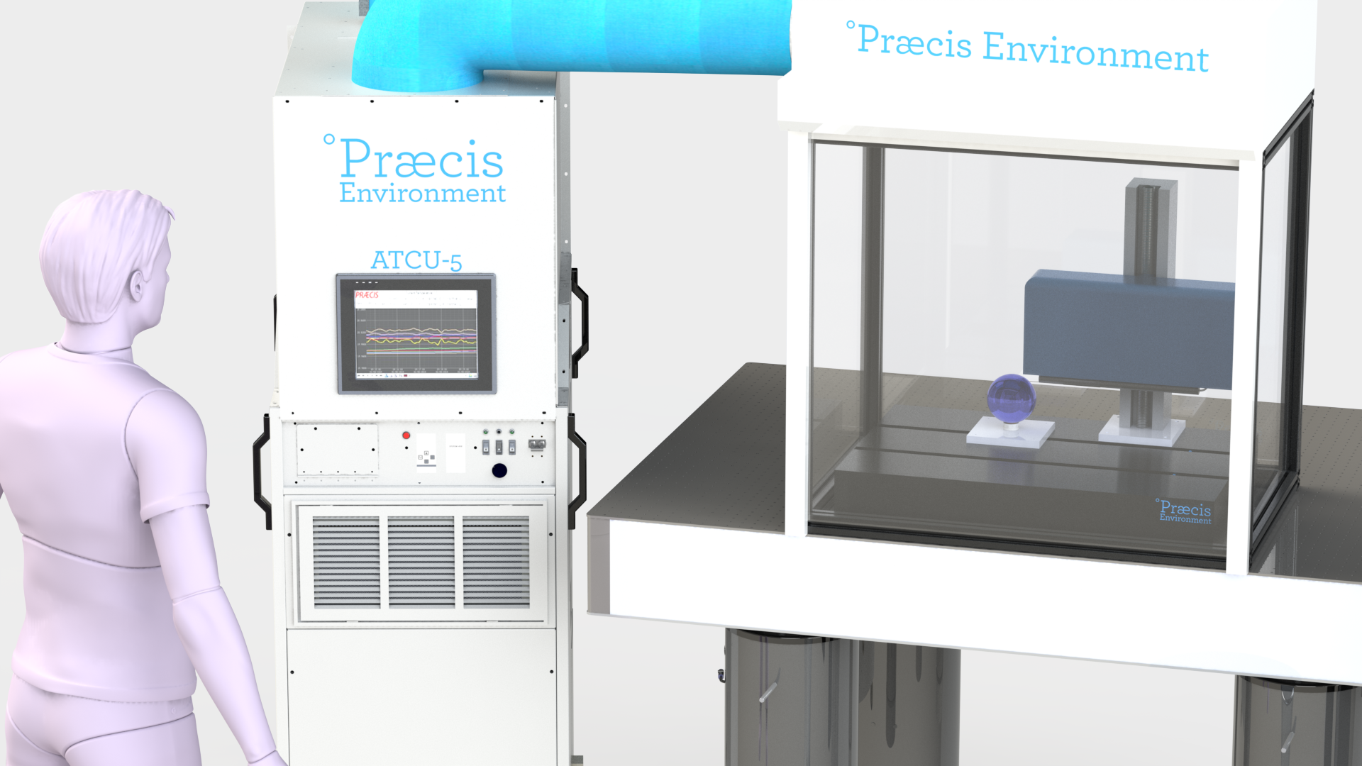 This Environment-5 Complete system houses a stylus-type profiler. Præcis d   esigned an enclosure that fits snuggly around the instrument with a roll-up clear shade on the front.