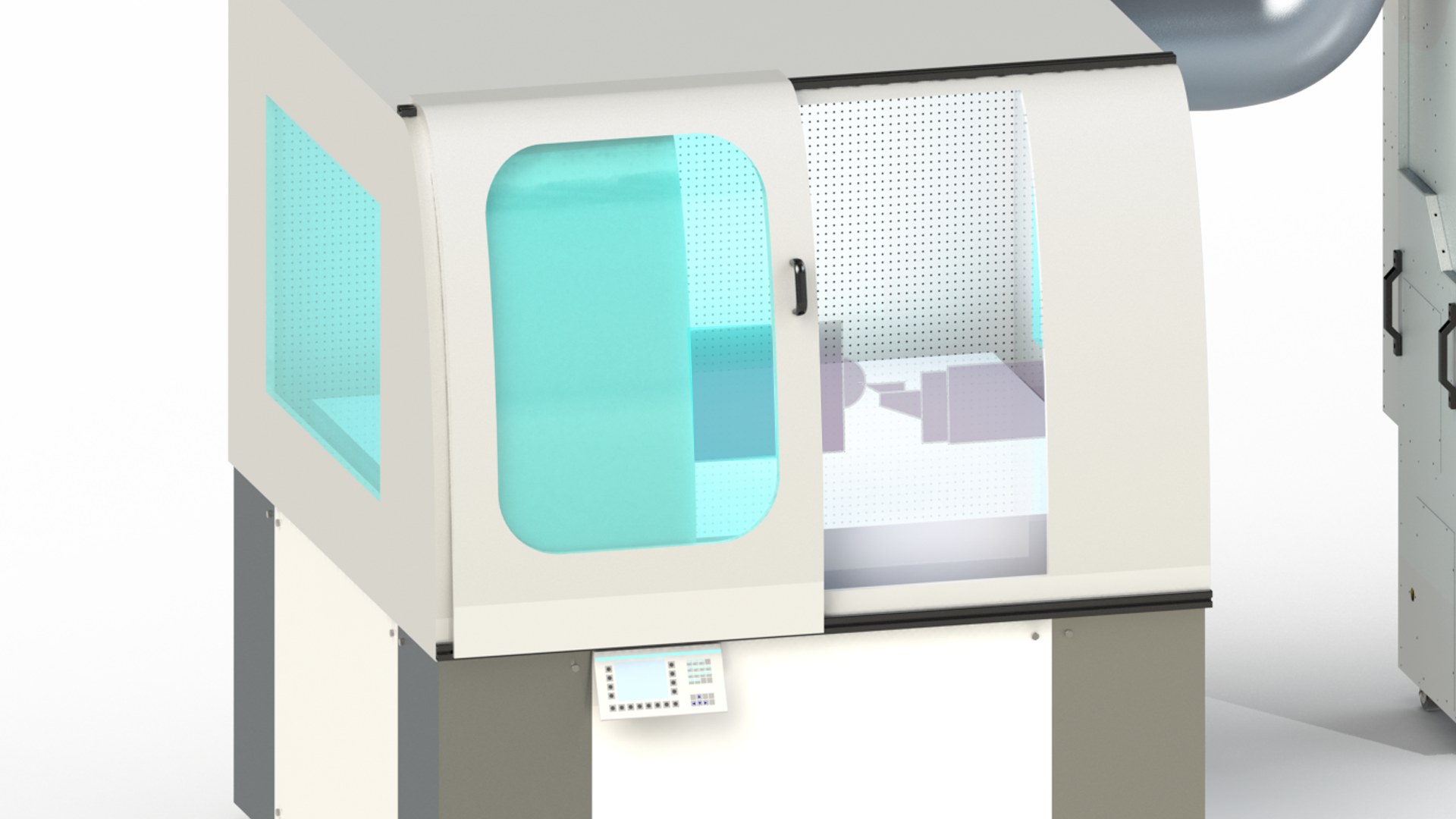 Perforated plenum wall allows ultra-precise thermal controlled air inside of diamond turning lathe.