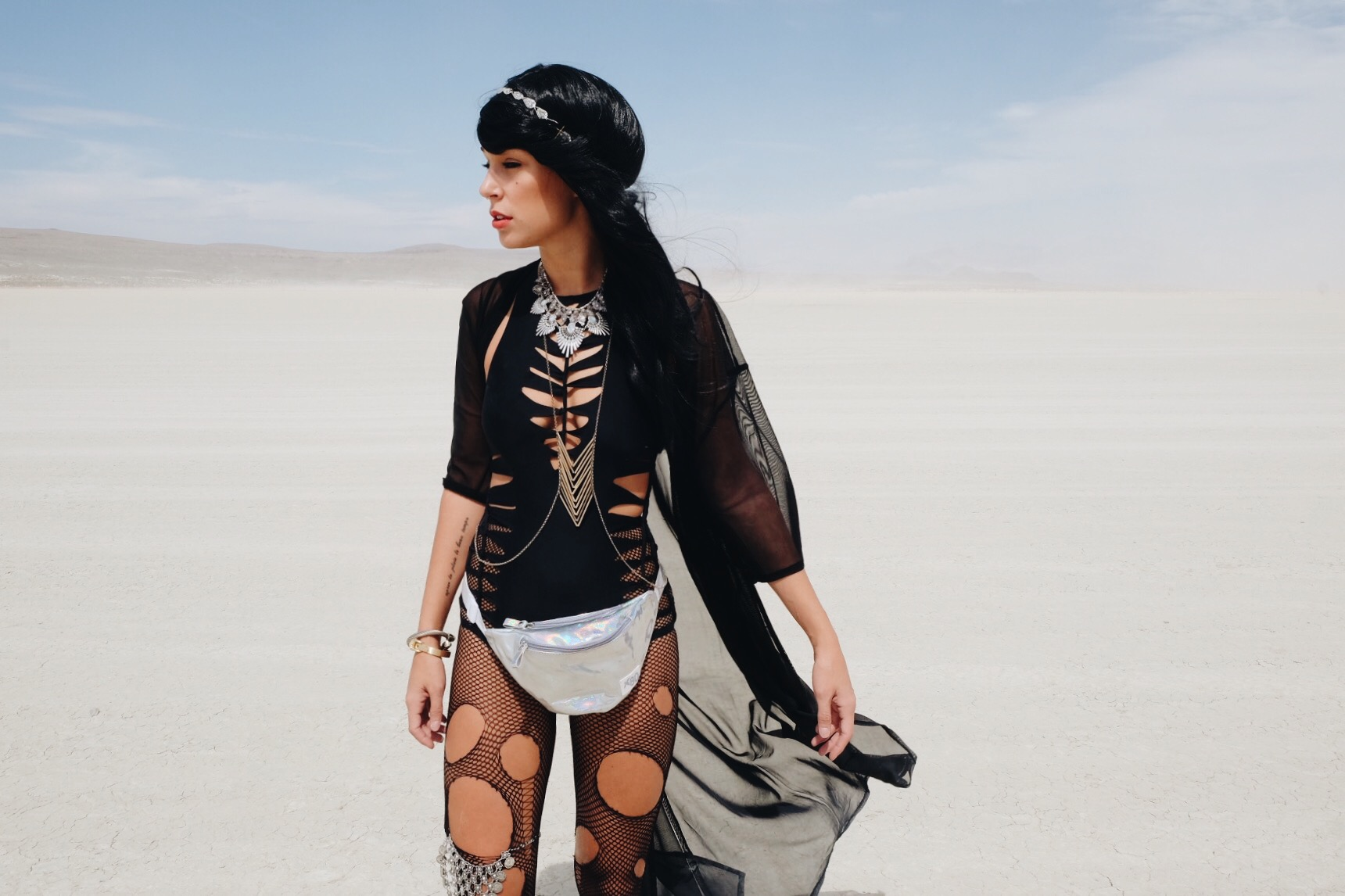 Burning Man Style Black Wig by The Blonde Vagabond .JPG