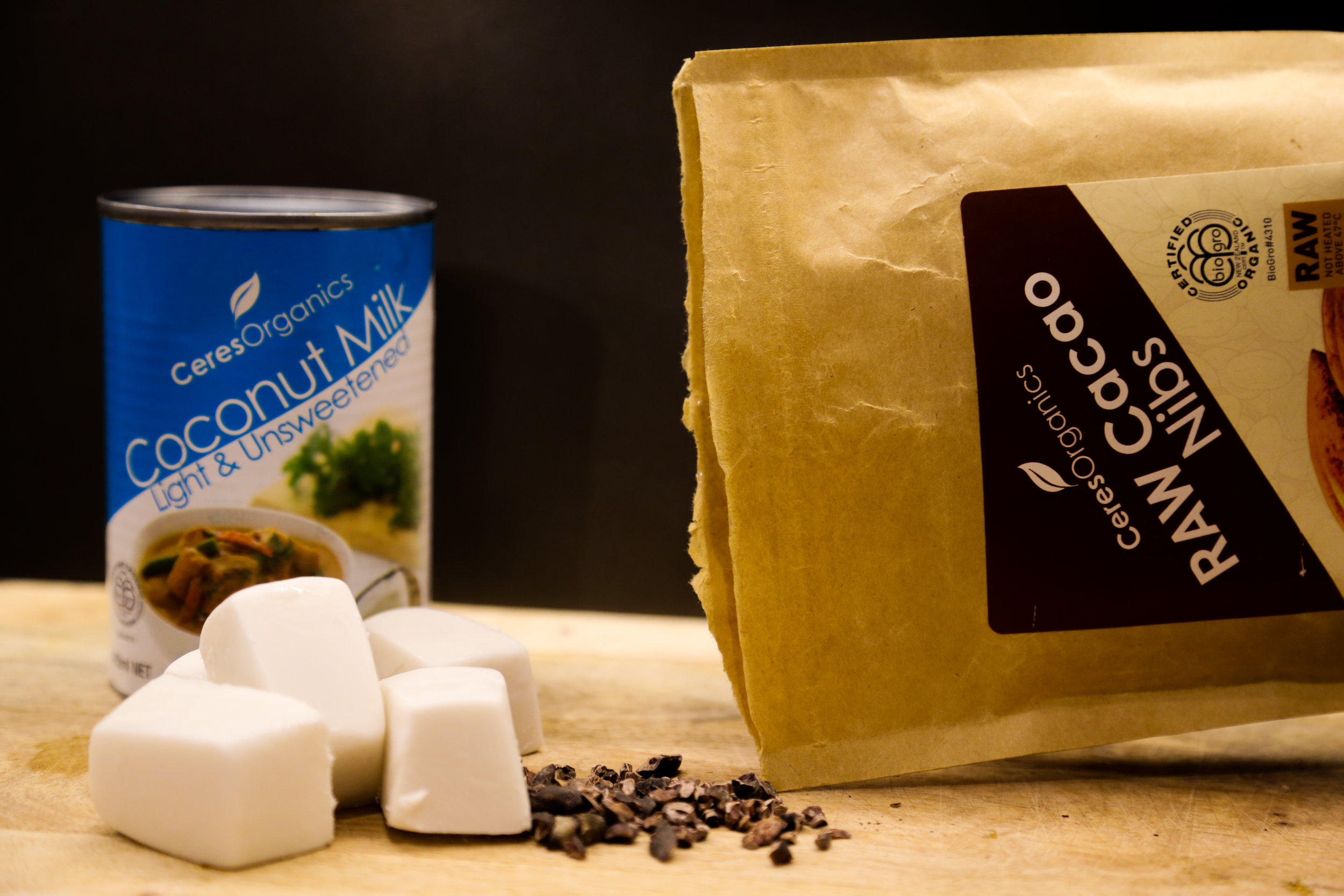 Frozen coconut ice-cubes for a warm summer night & cacao nibs for good measure!