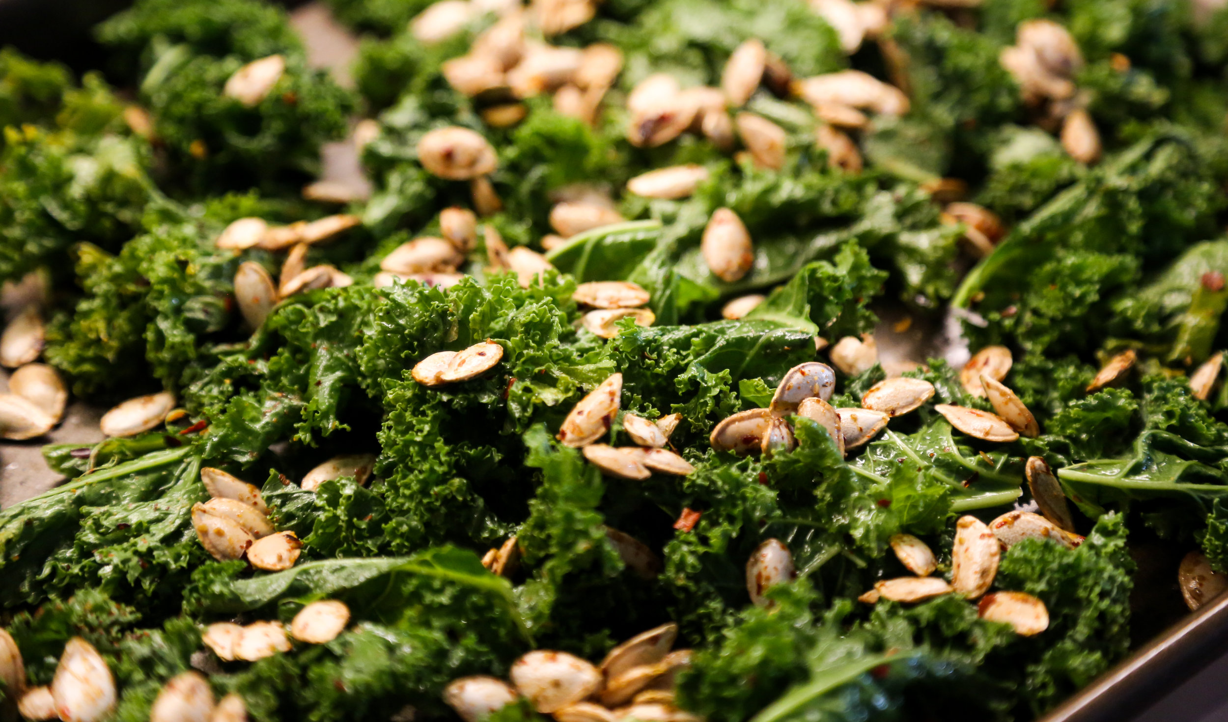 We baked the butternut seeds along with some kick'n kale chips. Recipe coming soon!