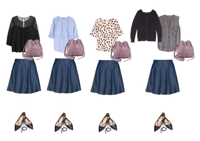 4 skirt outfits, everything else the same.