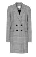 Grey plaid longline blazer