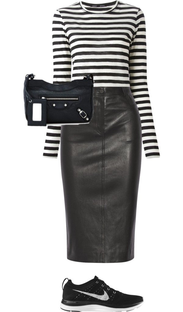 Stripes and leather: a brunch do. Capsule wardrobe musts.