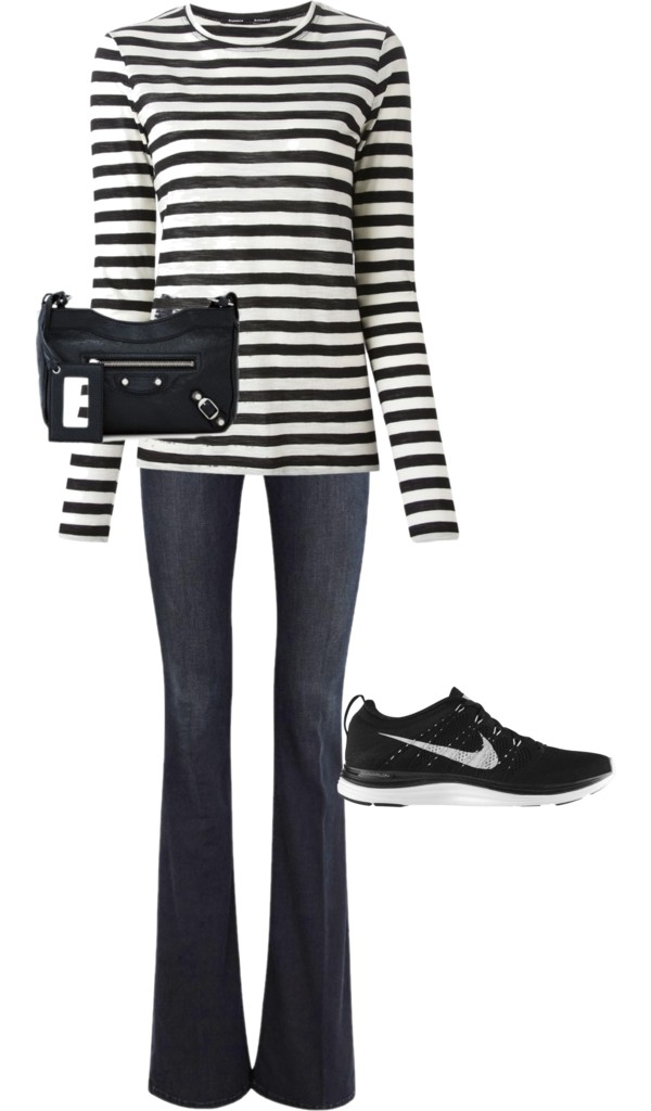 Stripes + Denim + Nikes = casual elegance for a weekend day.