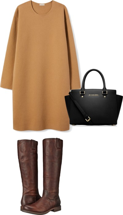 Gorgeous cashmere dress + boots from fall capsule wardrobe
