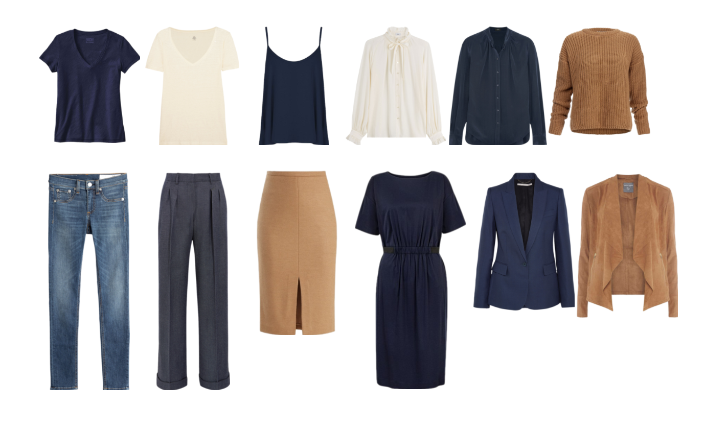 12 Item Minimal Capsule Wardrobe in Navy, Cream & Camel