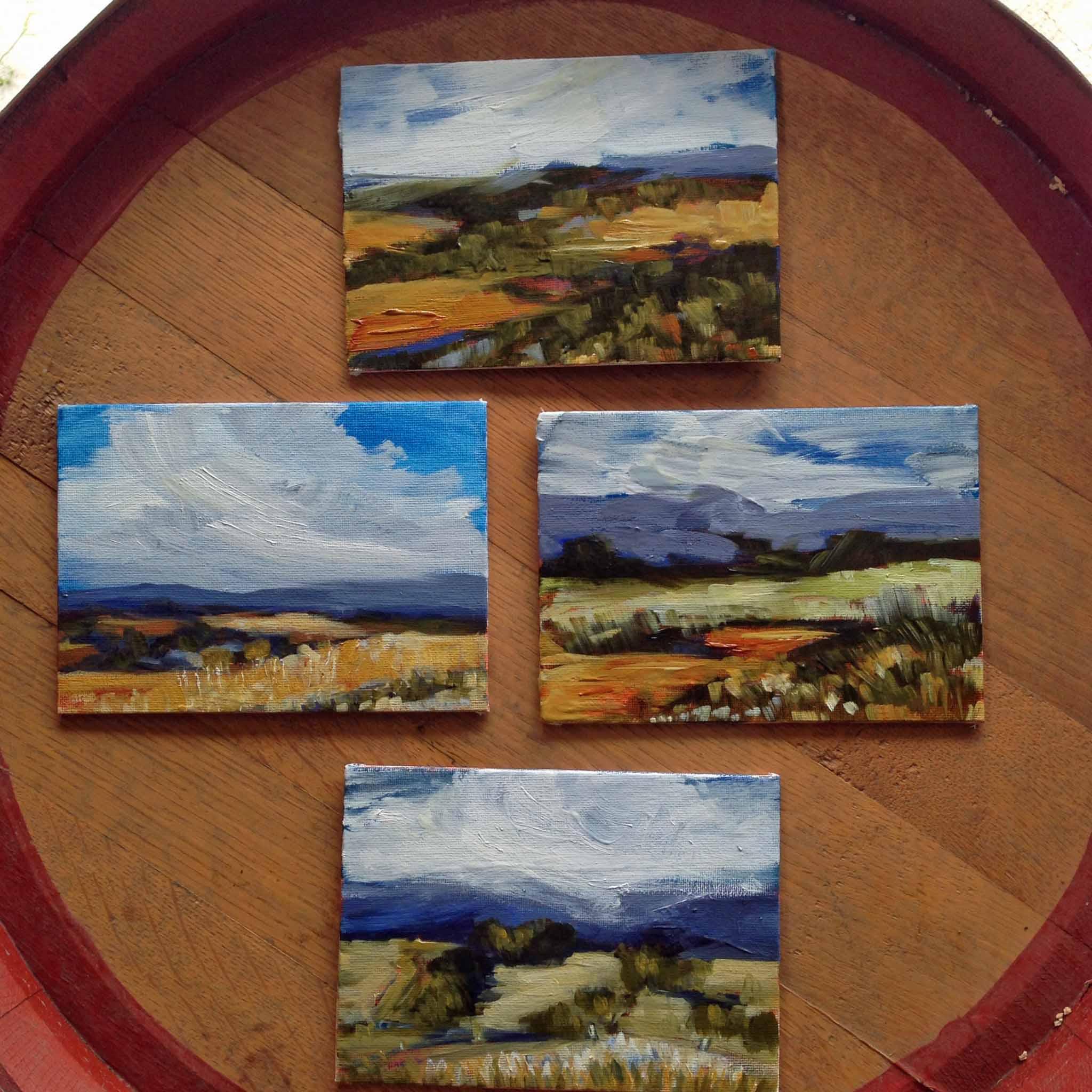 Four little 5x7 en plein air oil on panel studies from this week.