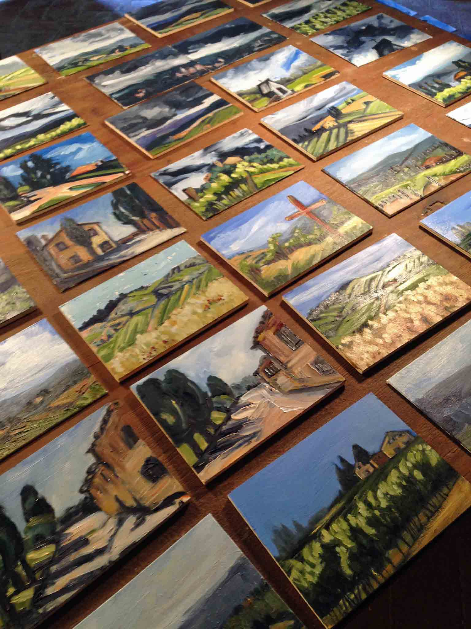 Oil on ply panel paintings