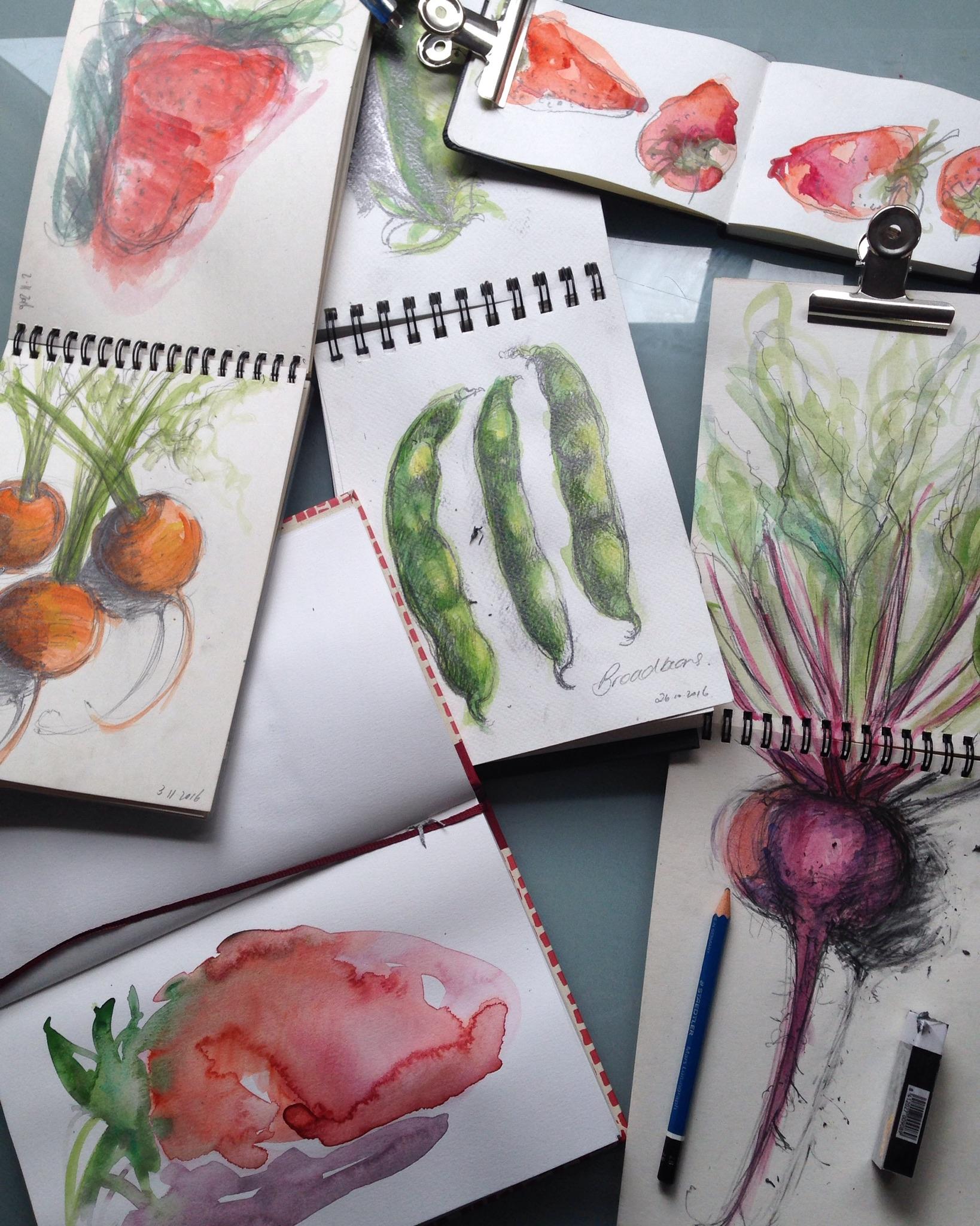 Various sketchbooks in process